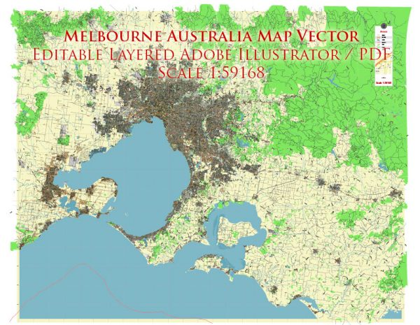 Melbourne Australia Grande area Vector Map Exact City Plan Street Map editable Adobe Illustrator in layers