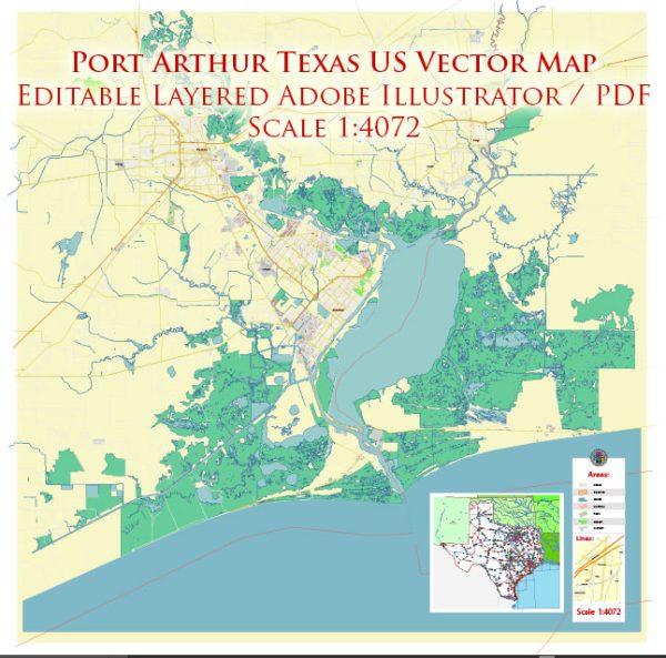 Port Arthur Texas US Map Vector Exact City Plan High Detailed Street Map editable Adobe Illustrator in layers