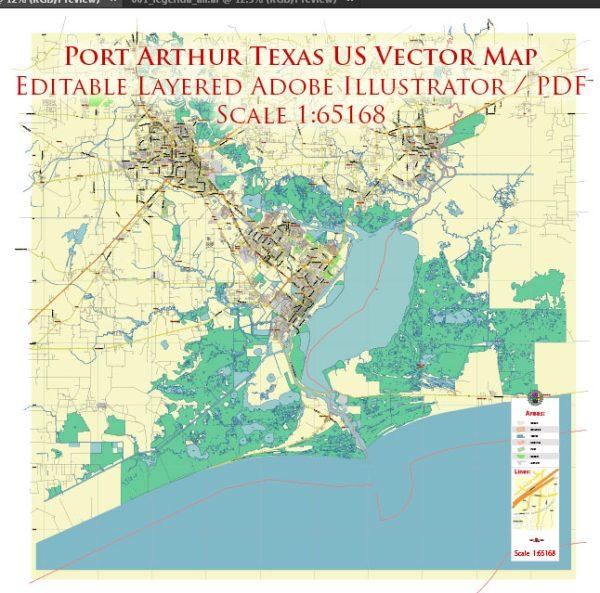 Port Arthur Texas US Map Vector City Plan Exact Street Map editable Adobe Illustrator in layers