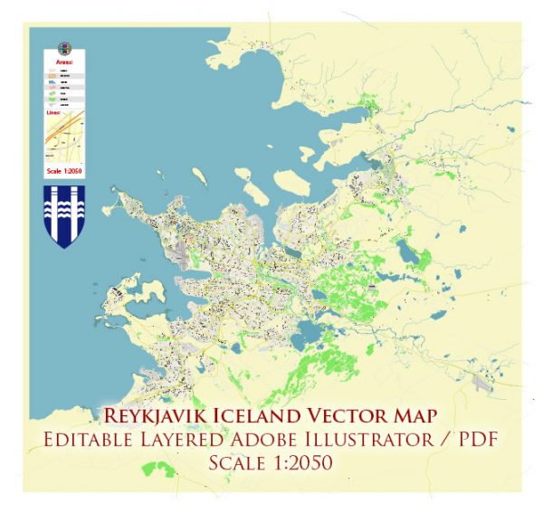 Reykjavik Iceland Map Vector Accurate High Detailed City Plan editable Adobe Illustrator Street Map in layers