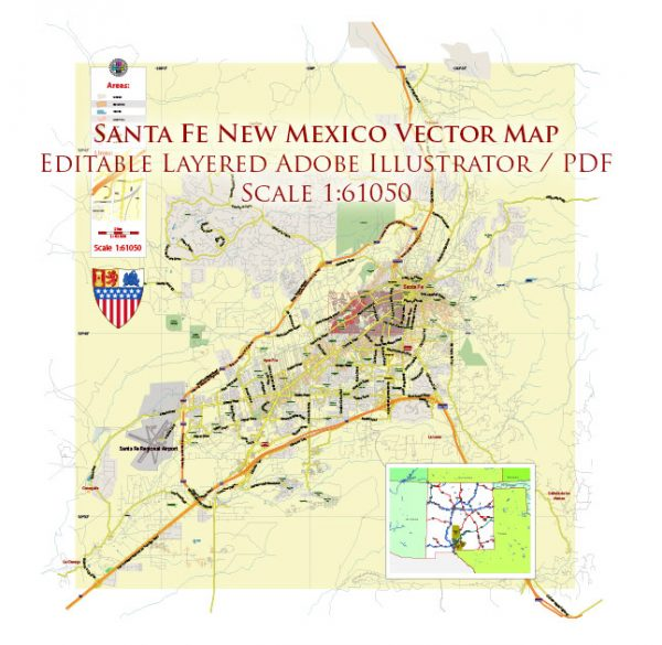 Santa Fe New Mexico US Map Vector Exact City Plan LOW Detailed (for small print size) Street Map editable Adobe Illustrator in layers