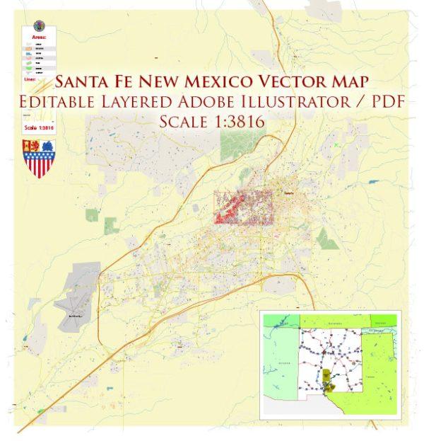 Santa Fe New Mexico US Map Vector Exact City Plan High Detailed Street Map editable Adobe Illustrator in layers