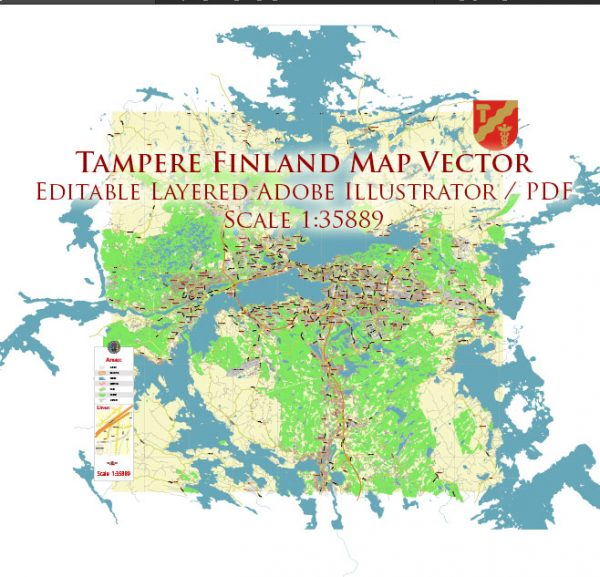 Tampere Finland Map Vector Exact City Plan LOW Detailed (for small print size) Street Map editable Adobe Illustrator in layers