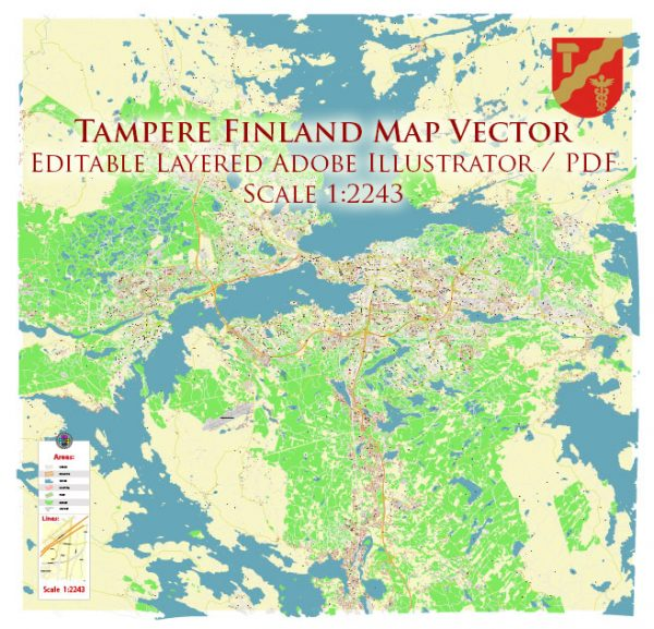 Tampere Finland Map Vector Exact City Plan High Detailed Street Map editable Adobe Illustrator in layers