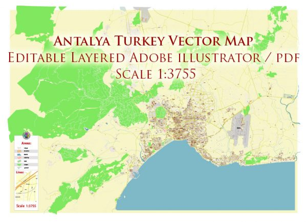 Antalya Turkey Map Vector Accurate High Detailed City Plan editable Adobe Illustrator Street Map in layers