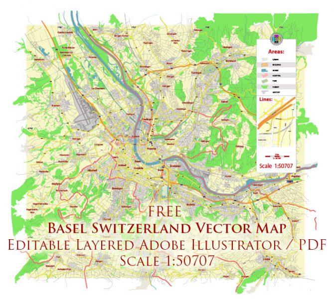 Basel Switzerland Vector Map Free Editable Layered Adobe Illustrator + PDF + SVG