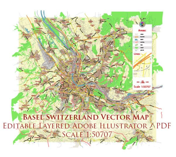 Basel Switzerland Map Vector City Plan Low Detailed (for small print size) Street Map editable Adobe Illustrator in layers