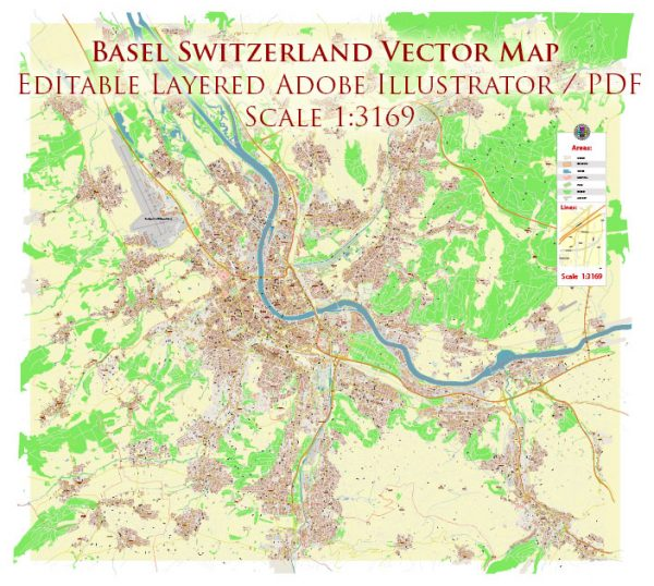 Basel Switzerland Map Vector Accurate High Detailed City Plan editable Adobe Illustrator Street Map in layers