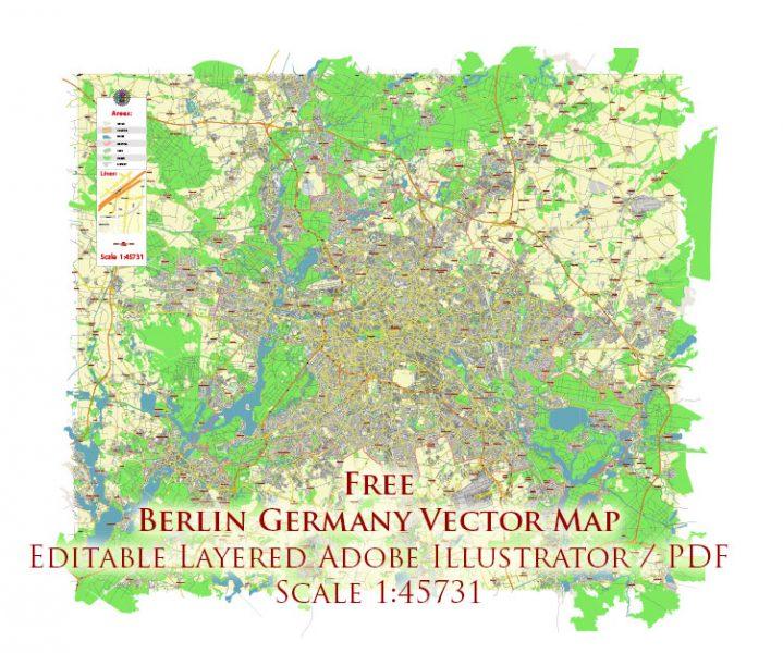 Berlin Germany Vector Map Free Editable Layered Adobe Illustrator + PDF + SVG
