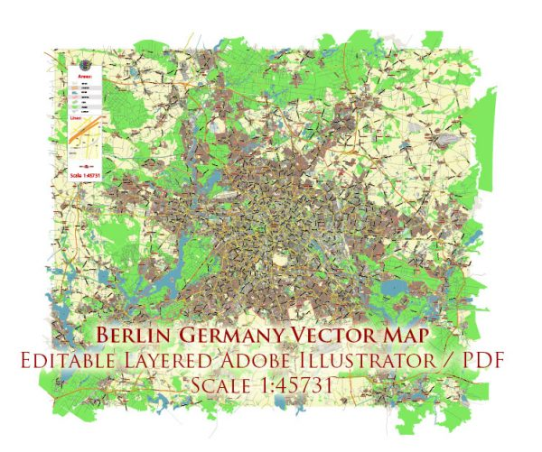 Berlin Germany Map Vector City Plan Low Detailed (for small print size) Street Map editable Adobe Illustrator in layers