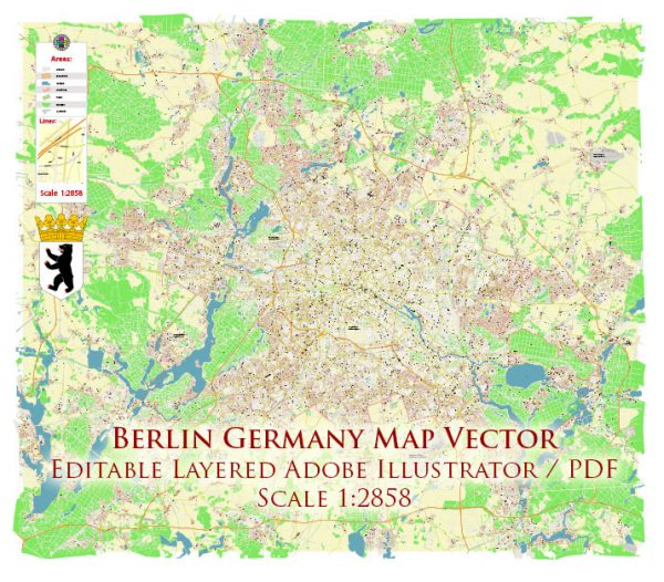 Berlin Germany Map Vector Accurate High Detailed City Plan editable Adobe Illustrator Street Map in layers
