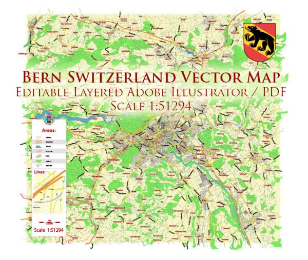 Bern Switzerland Map Vector City Plan Low Detailed (for small print size) Street Map editable Adobe Illustrator in layers