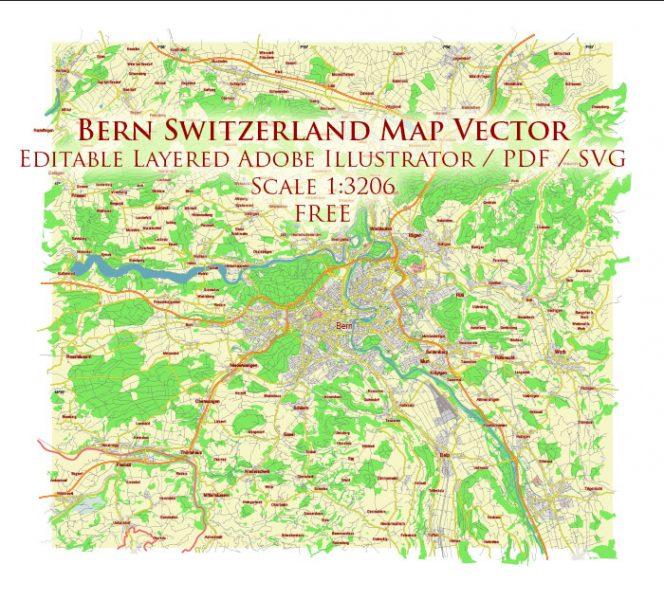 Bern Switzerland Vector Map Free Editable Layered Adobe Illustrator + PDF + SVG