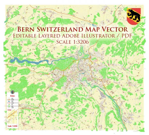Bern Switzerland Map Vector Accurate High Detailed City Plan editable Adobe Illustrator Street Map in layers