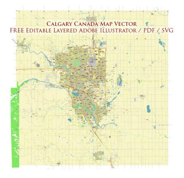 Calgary Alberta Canada Vector Map Free Editable Layered Adobe Illustrator + PDF + SVG