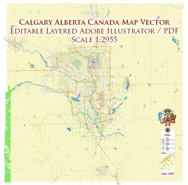 Calgary Alberta Canada Map Vector Accurate High Detailed City Plan editable Adobe Illustrator Street Map in layers