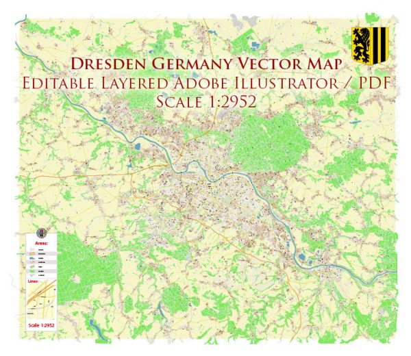 Dresden Germany Map Vector Accurate High Detailed City Plan editable Adobe Illustrator Street Map in layers