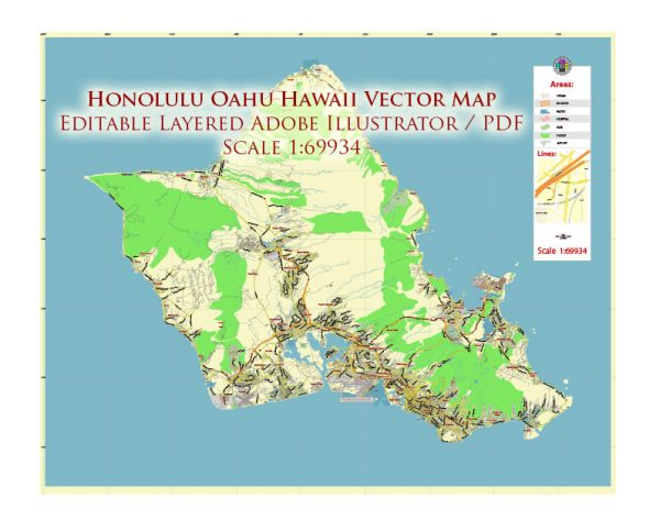 Honolulu Oahu Hawaii US Map Vector City Plan Low Detailed (for small print size) Street Map editable Adobe Illustrator in layers