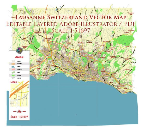 Lausanne Switzerland Map Vector City Plan Low Detailed (for small print size) Street Map editable Adobe Illustrator in layers