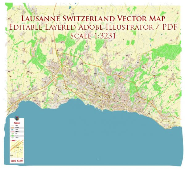 Lausanne Switzerland Map Vector Accurate High Detailed City Plan editable Adobe Illustrator Street Map in layers