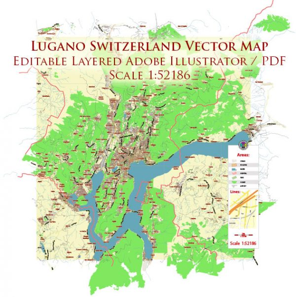 Lugano Switzerland Map Vector City Plan Low Detailed (for small print size) Street Map editable Adobe Illustrator in layers