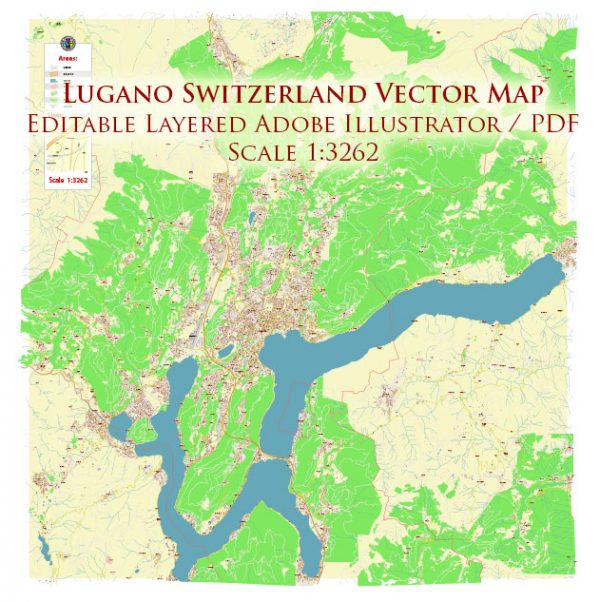 Lugano Switzerland Map Vector Accurate High Detailed City Plan editable Adobe Illustrator Street Map in layers