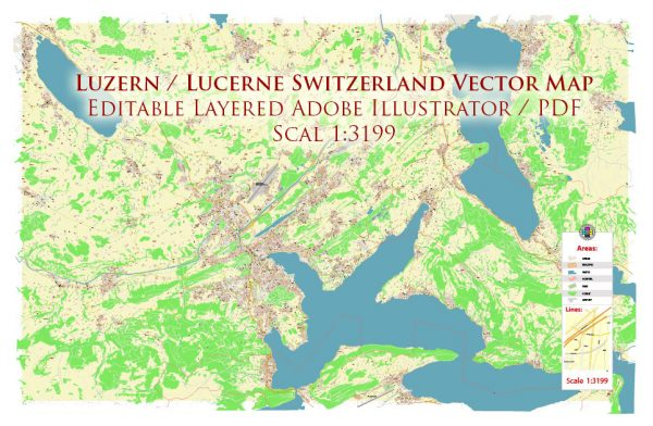 Luzern Lucerne Switzerland Map Vector Accurate High Detailed City Plan editable Adobe Illustrator Street Map in layers