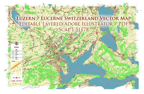 Luzern Lucerne Switzerland Map Vector City Plan Low Detailed (for small print size) Street Map editable Adobe Illustrator in layers
