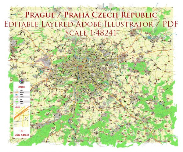 Prague Praha Czech Republic Map Vector City Plan Low Detailed (for small print size) Street Map editable Adobe Illustrator in layers