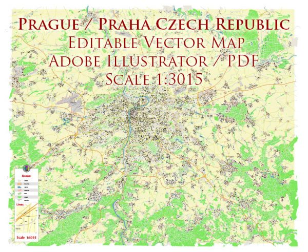 Prague Praha Czech Republic Map Vector Accurate High Detailed City Plan editable Adobe Illustrator Street Map in layers