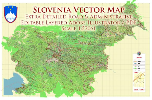 Slovenia Vector Map: Full Extra High Detailed 01 (all roads) + Admin Areas editable Adobe Illustrator in layers