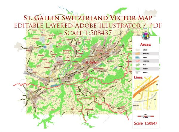 St. Gallen Switzerland Map Vector City Plan Low Detailed (for small print size) Street Map editable Adobe Illustrator in layers