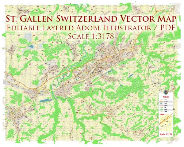 St. Gallen Switzerland Map Vector Accurate High Detailed City Plan editable Adobe Illustrator Street Map in layers