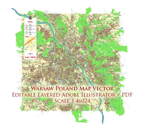 Warsaw \ Warszawa Poland Map Vector City Plan Low Detailed (for small print size) Street Map editable Adobe Illustrator in layers