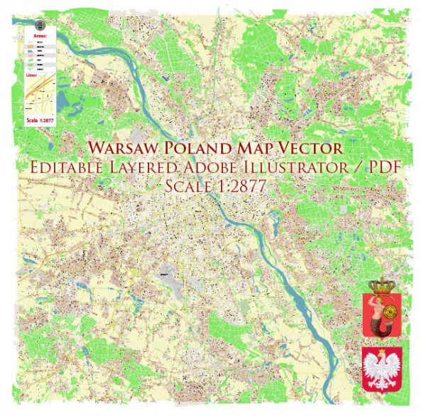 Warsaw \ Warszawa Poland Map Vector Accurate High Detailed City Plan editable Adobe Illustrator Street Map in layers