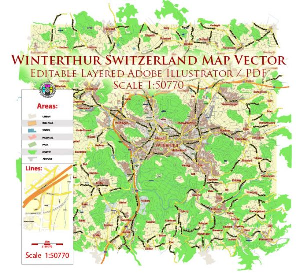 Winterthur Switzerland Map Vector City Plan Low Detailed (for small print size) Street Map editable Adobe Illustrator in layers