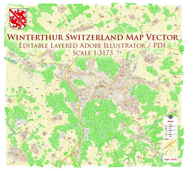 Winterthur Switzerland Map Vector Accurate High Detailed City Plan editable Adobe Illustrator Street Map in layers