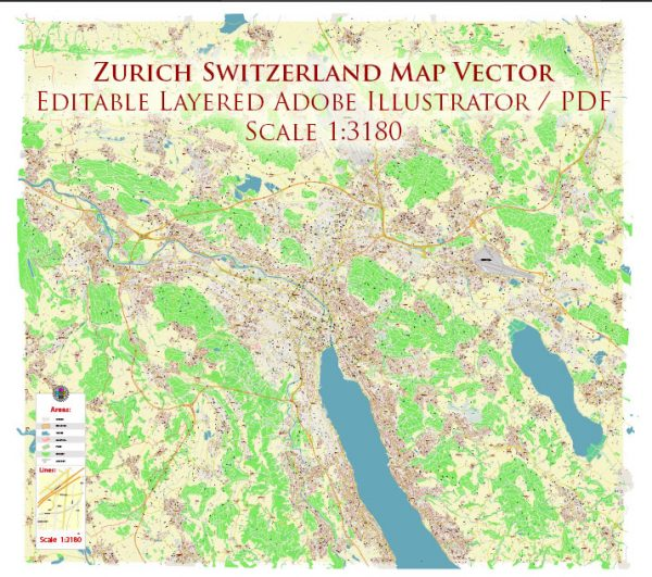 Zurich Switzerland Map Vector Accurate High Detailed City Plan editable Adobe Illustrator Street Map in layers