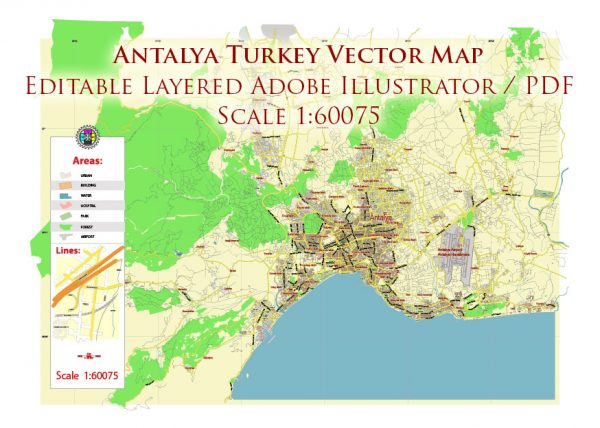 Antalya Turkey Map Vector City Plan Low Detailed (for small print size) Street Map editable Adobe Illustrator in layers