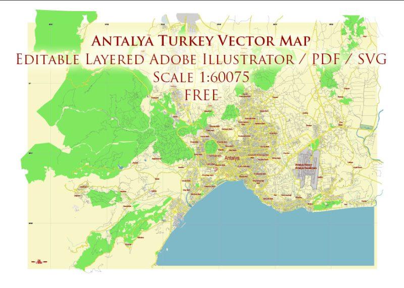 Antalya Turkey Vector Map Free Editable Layered Adobe Illustrator + PDF + SVG