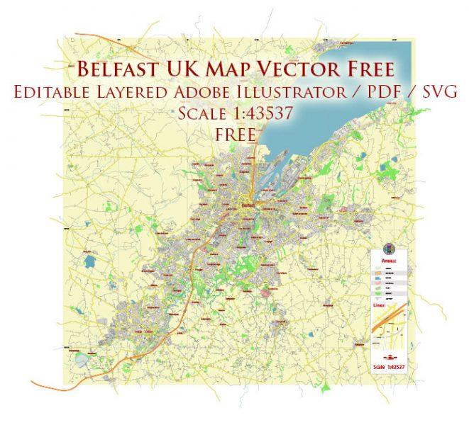 Belfast Northern Ireland UK Vector Map Free Editable Layered Adobe Illustrator + PDF + SVG