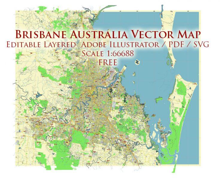 Brisbane Australia Vector Map Free Editable Layered Adobe Illustrator + PDF + SVG