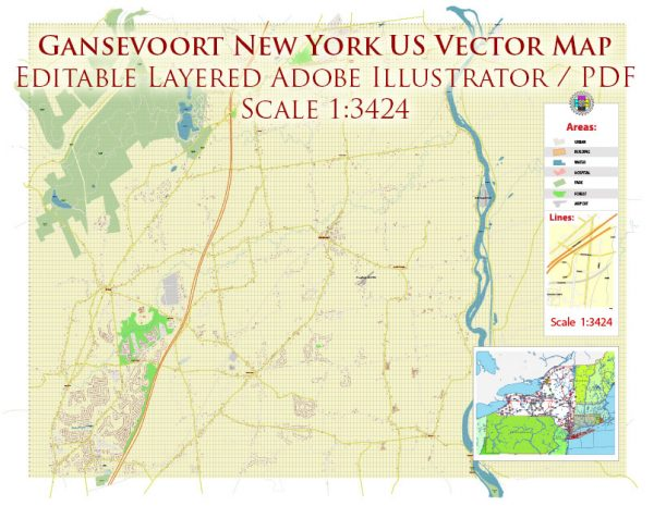 Gansevoort New York US Map Vector Accurate High Detailed City Plan editable Adobe Illustrator Street Map in layers