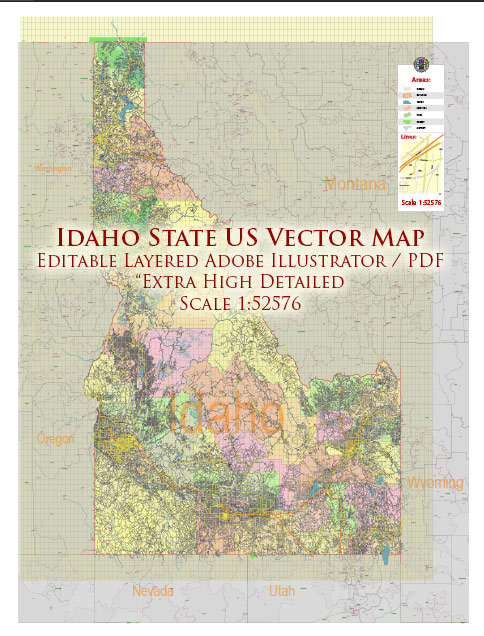 Idaho Full State US Vector Map: Full Extra High Detailed (all roads, zipcodes, airports) + Admin Areas editable Adobe Illustrator in layers