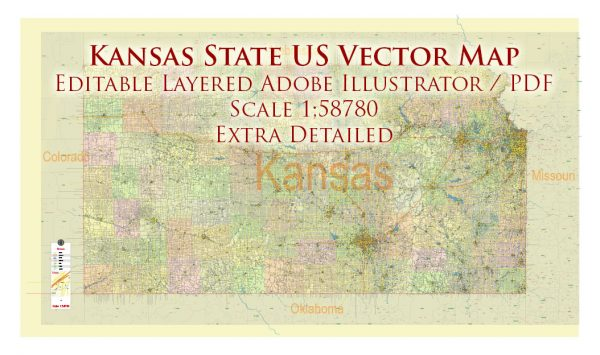 Kansas Full State US Vector Map: Full Extra High Detailed (all roads, zipcodes, airports) + Admin Areas editable Adobe Illustrator in layers