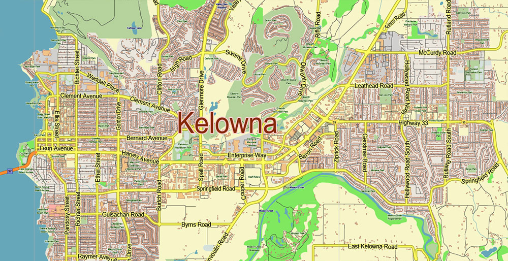 Kelowna Canada Map Vector City Plan Low Detailed (for small print size) Street Map editable Adobe Illustrator in layers