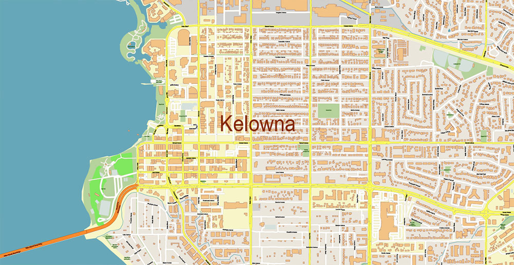 Kelowna BC Canada PDF Vector Map Accurate High Detailed City Plan editable Adobe PDF Street Map in layers