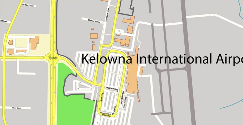 Kelowna BC Canada Map Vector Accurate High Detailed City Plan editable Adobe Illustrator Street Map in layers