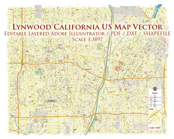 Lynwood California US DXF Map Vector Exact City Plan High Detailed Street Map AutoCAD + Shapefiles + Adobe PDF in layers