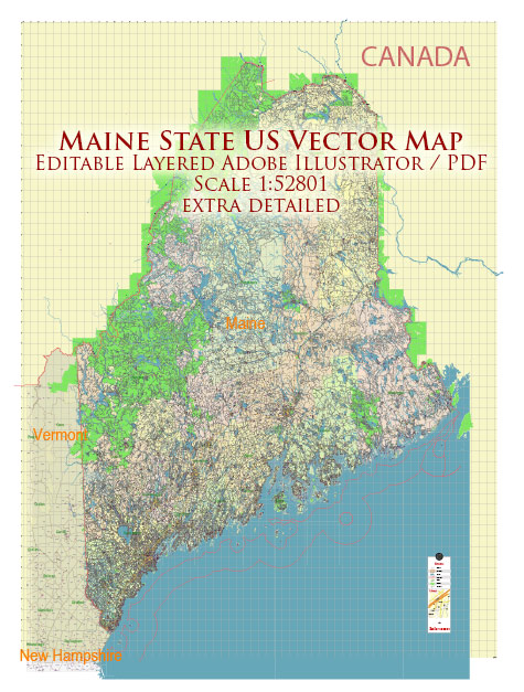Maine Full State US Vector Map: Full Extra High Detailed (all roads, zipcodes, airports) + Admin Areas editable Adobe Illustrator in layers